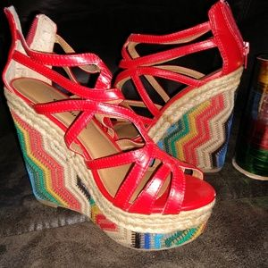 CITY CLASSIFIED - AZTEC WEDGE CAGED HEELS - RED 7